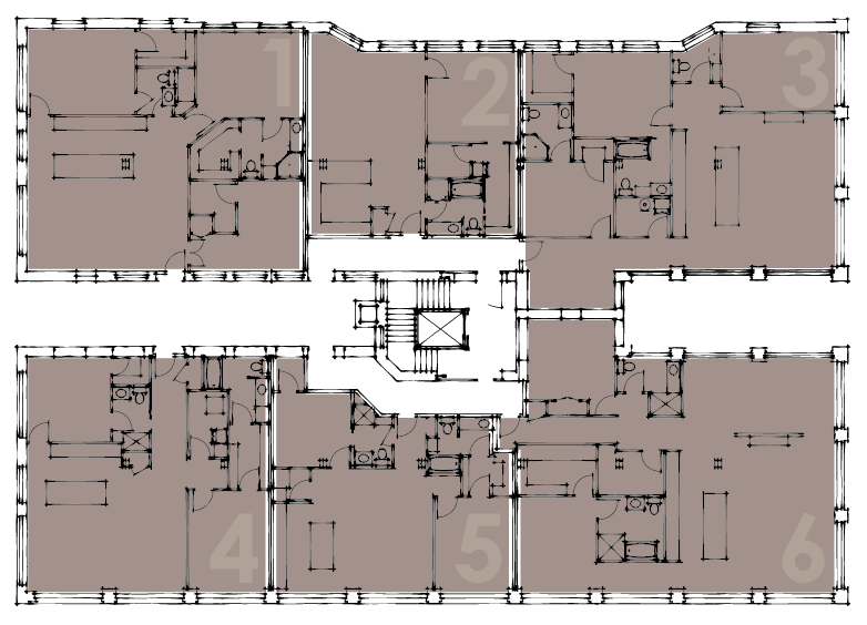 Floorplan of 4th floor apartments